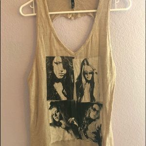 Tan graphic tank